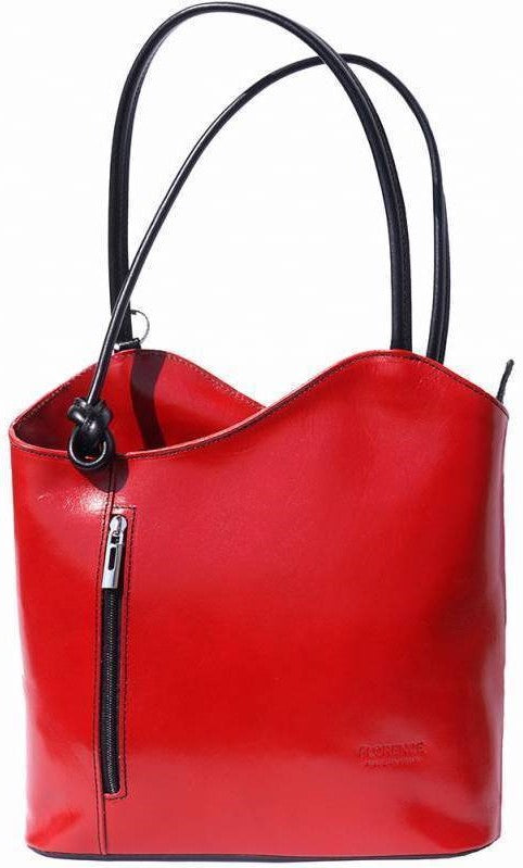 Leather Backpack Handbag - Red/Black