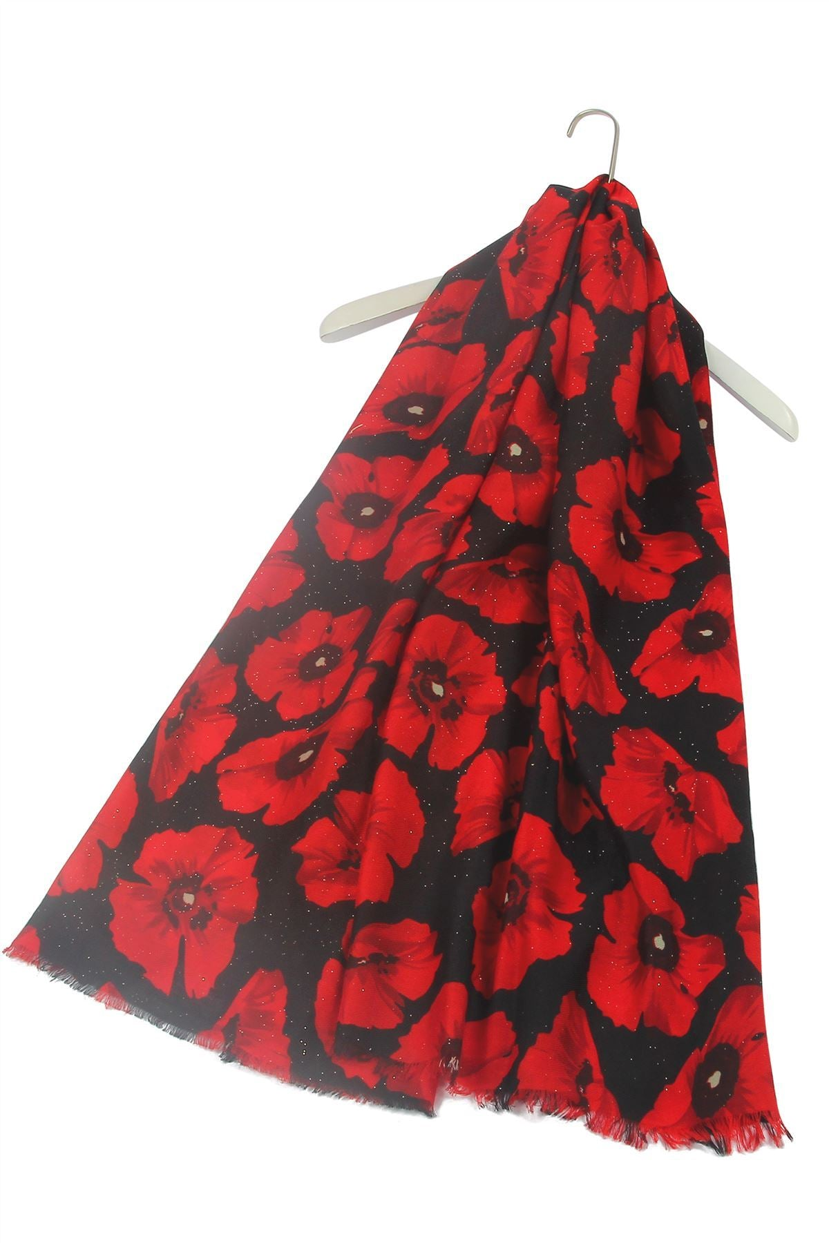 Glitter Poppy Scarf - Black