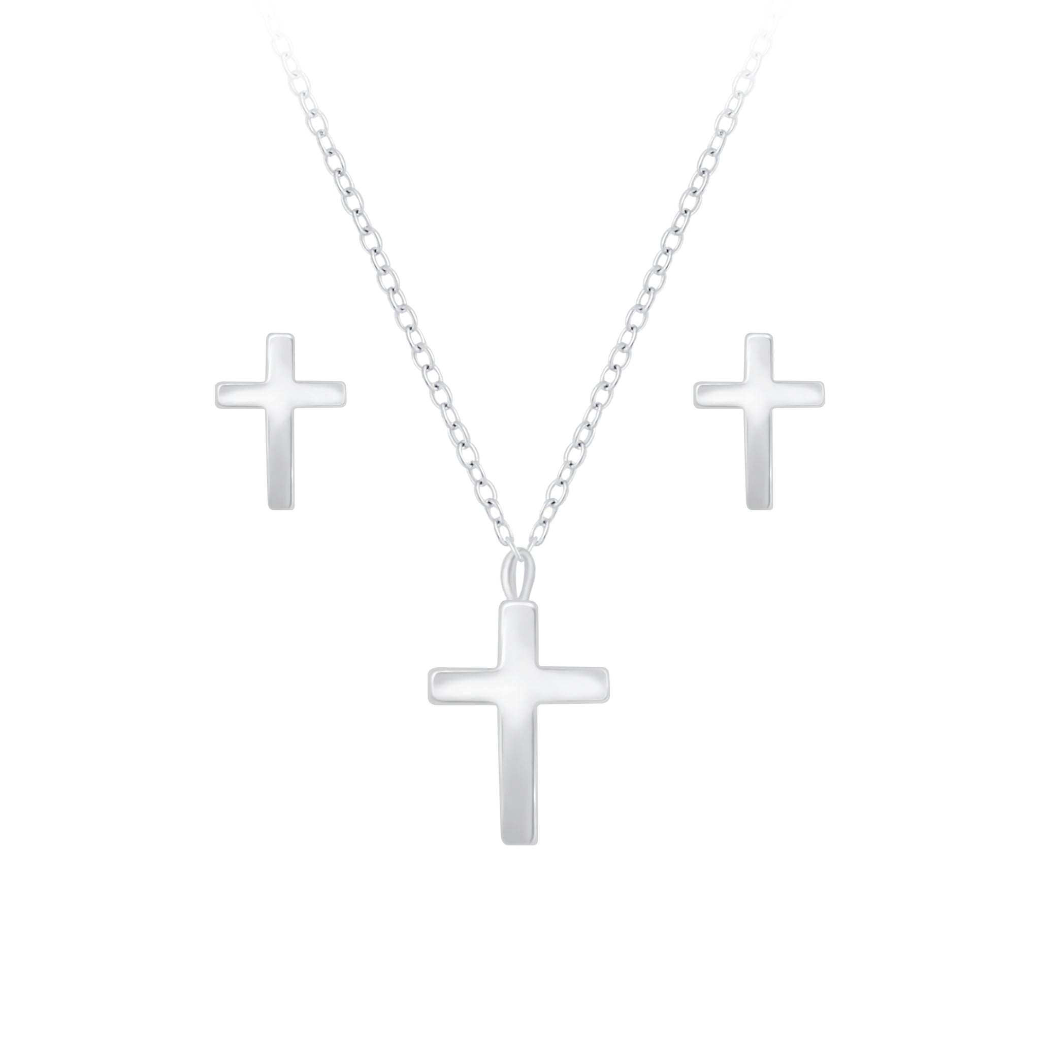 Silver Cross Necklace and Stud Earrings Set