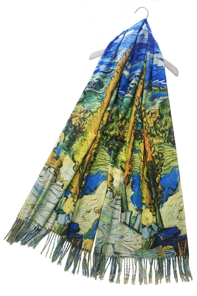 Van Gogh Two Poplars On A Road Wool Blend Scarf