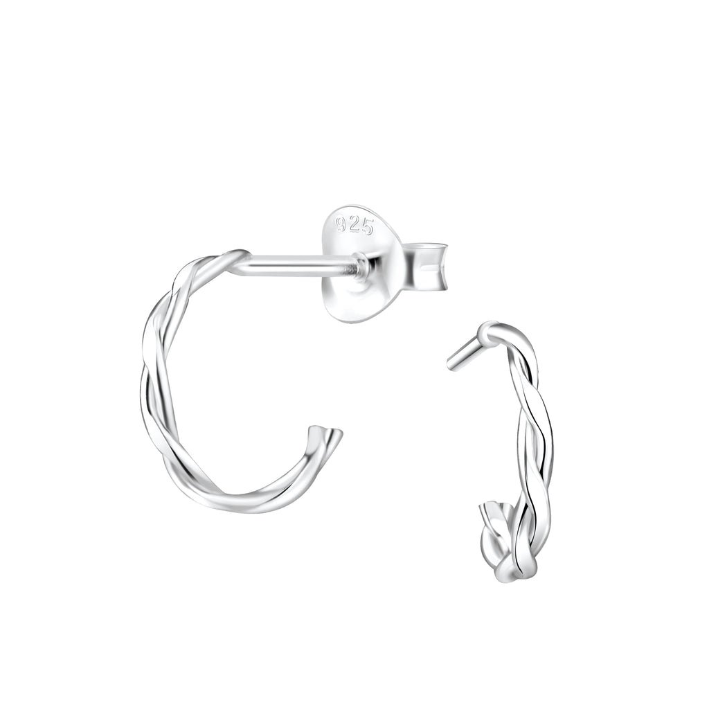 Silver Twisted Half Hoop Stud Earrings