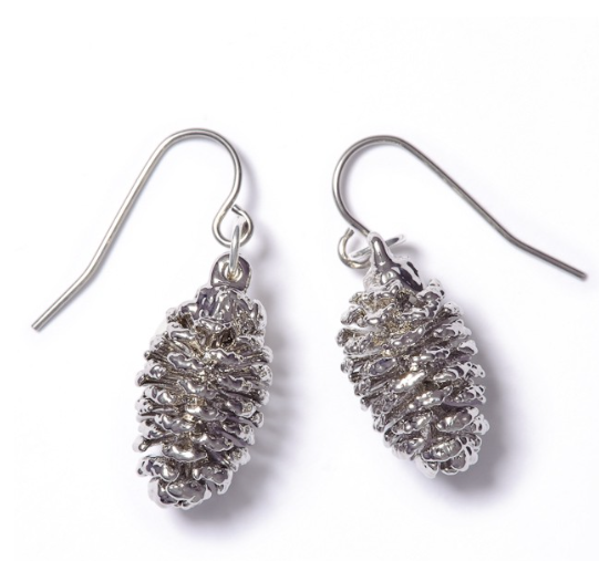 Alder Cone Earrings - Silver