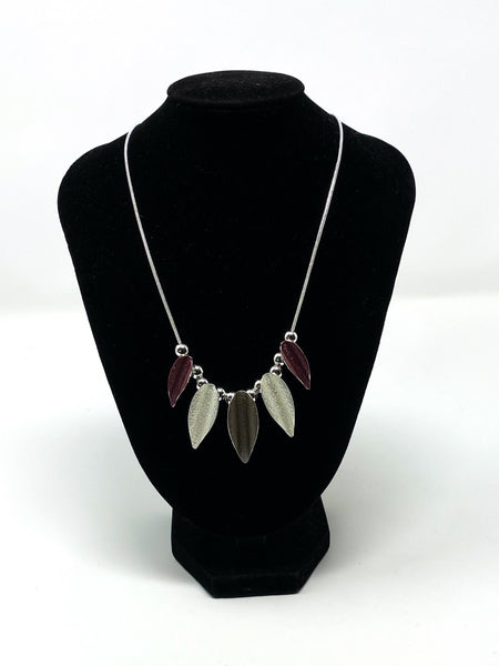 Beaded Leaf Necklace - Plum, Grey & Silver