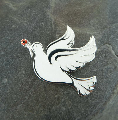 Doves of Peace Poppy Brooch