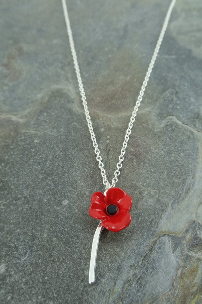 Single Stem Poppy Necklace