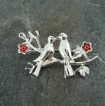 Two Birds Poppy Brooch