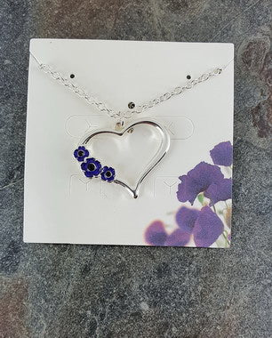 Purple Poppy Necklace - Heart