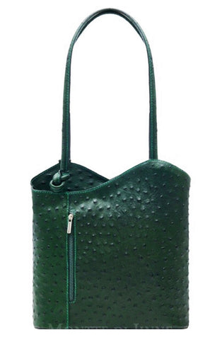Ostrich Effect Leather Backpack Handbag - Dark Green