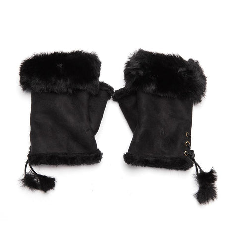 Faux Fur and Suede Fingerless Mittens - Black