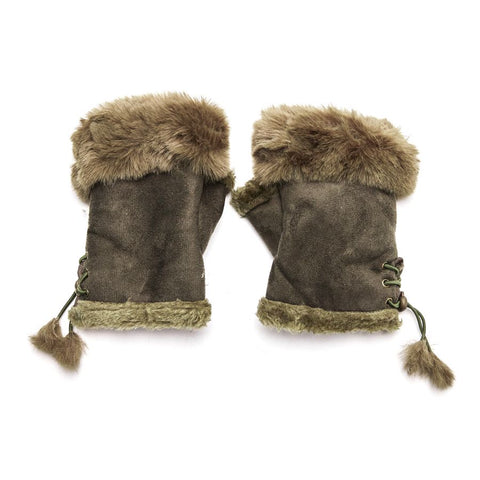 Faux Fur and Suede Fingerless Mittens - Brown