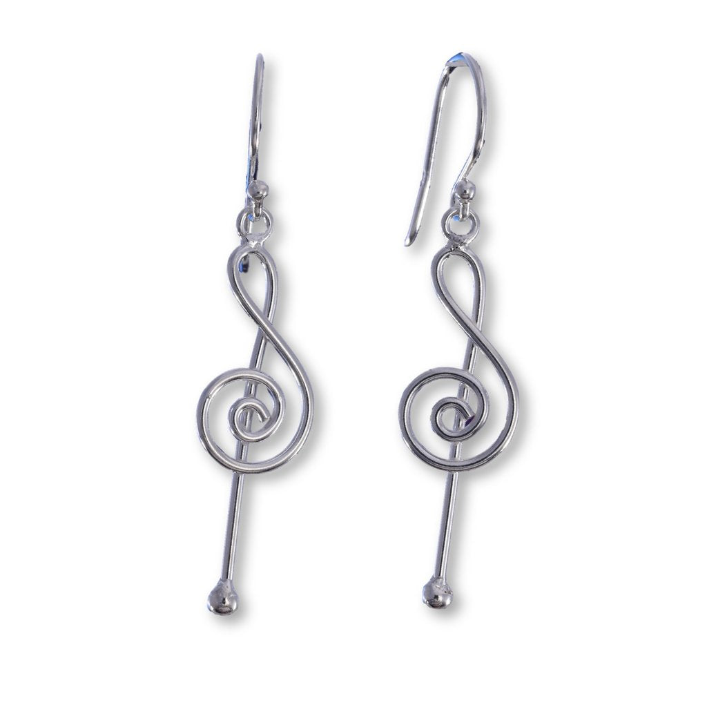 Silver Treble Cleff Wire Drop Earrings