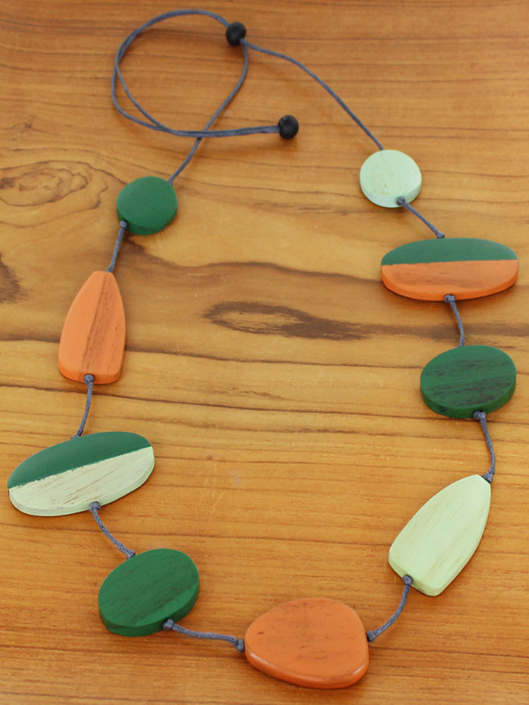 Long Wooden Mixed Shape Necklace - Green & Orange