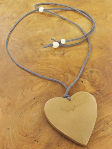 Suede & Wood Heart Necklace - Gold