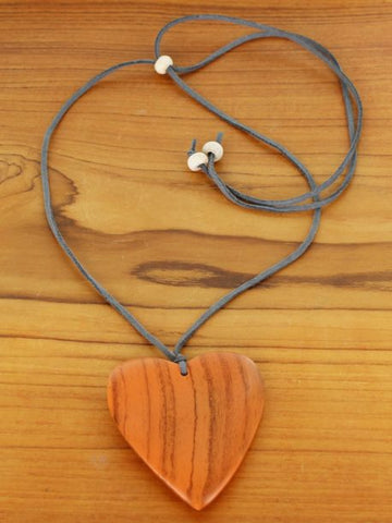 Suede & Wood Heart Necklace - Orange