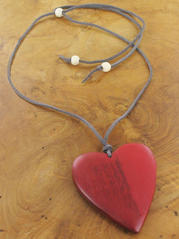 Suede & Wood Heart Necklace - Red