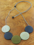 Wooden 5 Disc Necklace -  Mint & Green