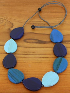 Wooden Teardrop Pebble Necklace -  Blue