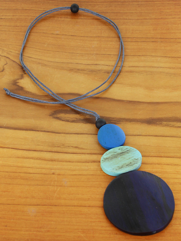 Triple Disc Pendant Necklace - Blue