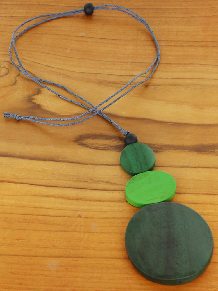 Triple Disc Pendant Necklace - Green