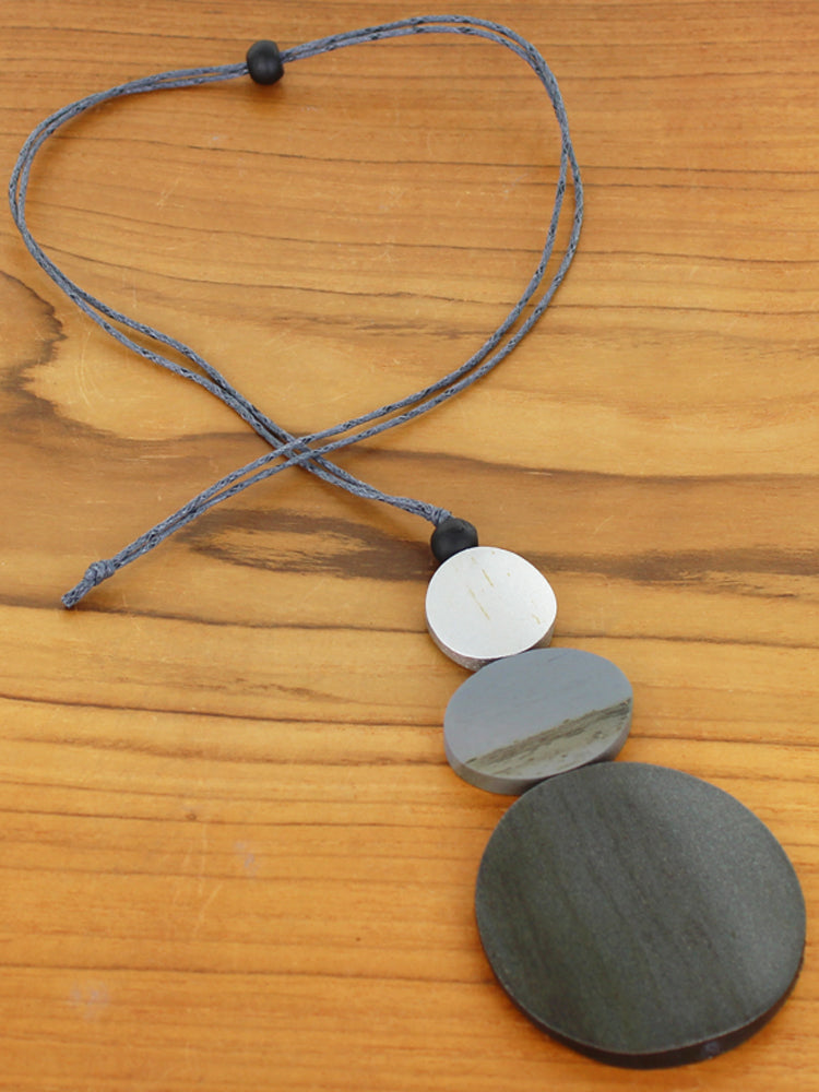 Triple Disc Pendant Necklace - Grey