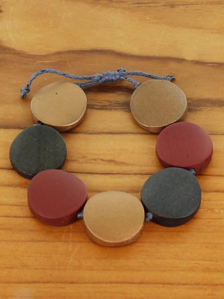 Wooden Bracelet -  Gold & Red