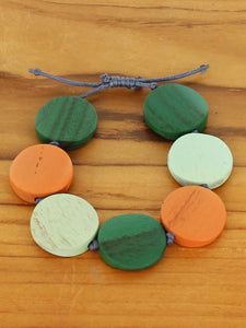 Wooden Bracelet -  Green & Orange