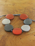 Wooden Bracelet - Orange & Grey