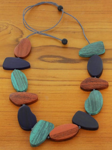 Asymmetric Wooden Pebble Necklace -  Copper & Navy