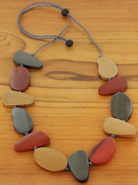 Asymmetric Wooden Pebble Necklace - Gold & Red