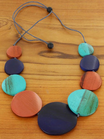 Graduated Wooden Disc Necklace -  Copper & Navy