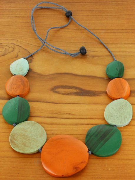 Graduated Wooden Disc Necklace -  Green & Orange