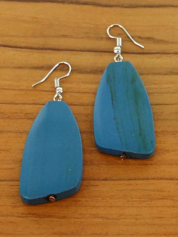 Wooden Pebble Earrings - Blue