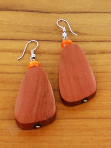 Wooden Pebble Earrings - Copper