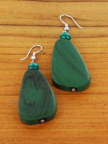 Wooden Pebble Earrings - Green