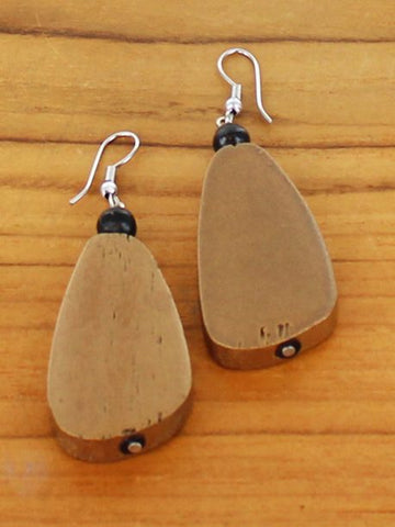 Wooden Pebble Earrings - Gold