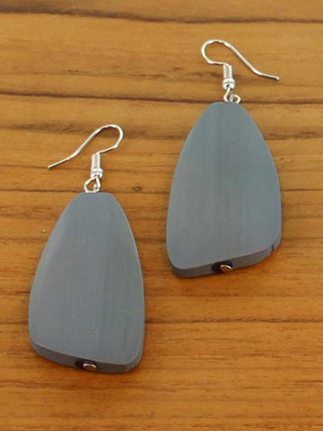 Wooden Pebble Earrings - Grey