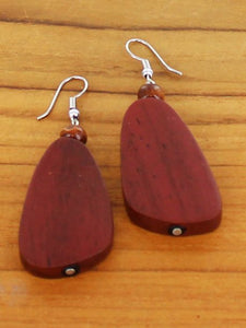Wooden Pebble Earrings - Red