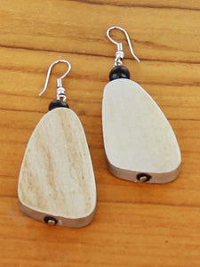 Wooden Pebble Earrings - Silver