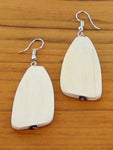 Wooden Pebble Earrings - White