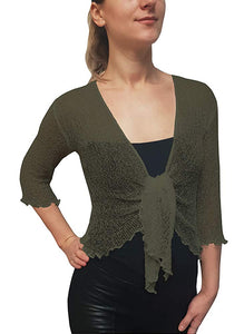 Knitted Shrug Cardigan - Fern