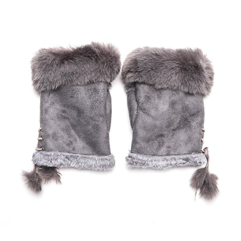 Faux Fur and Suede Fingerless Mittens - Grey