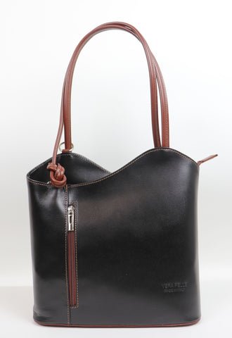 Leather Backpack Handbag - Black/Brown