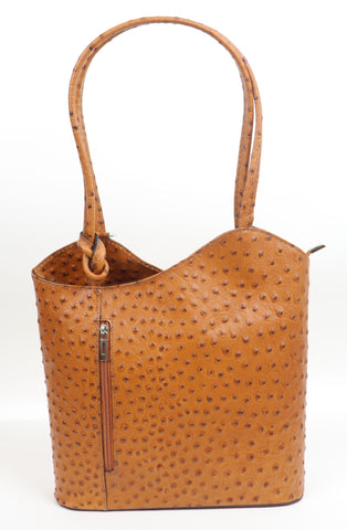 Ostrich Effect Leather Backpack Handbag - Mustard