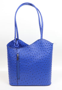 Ostrich Effect Leather Handbag Backpack - Royal Blue