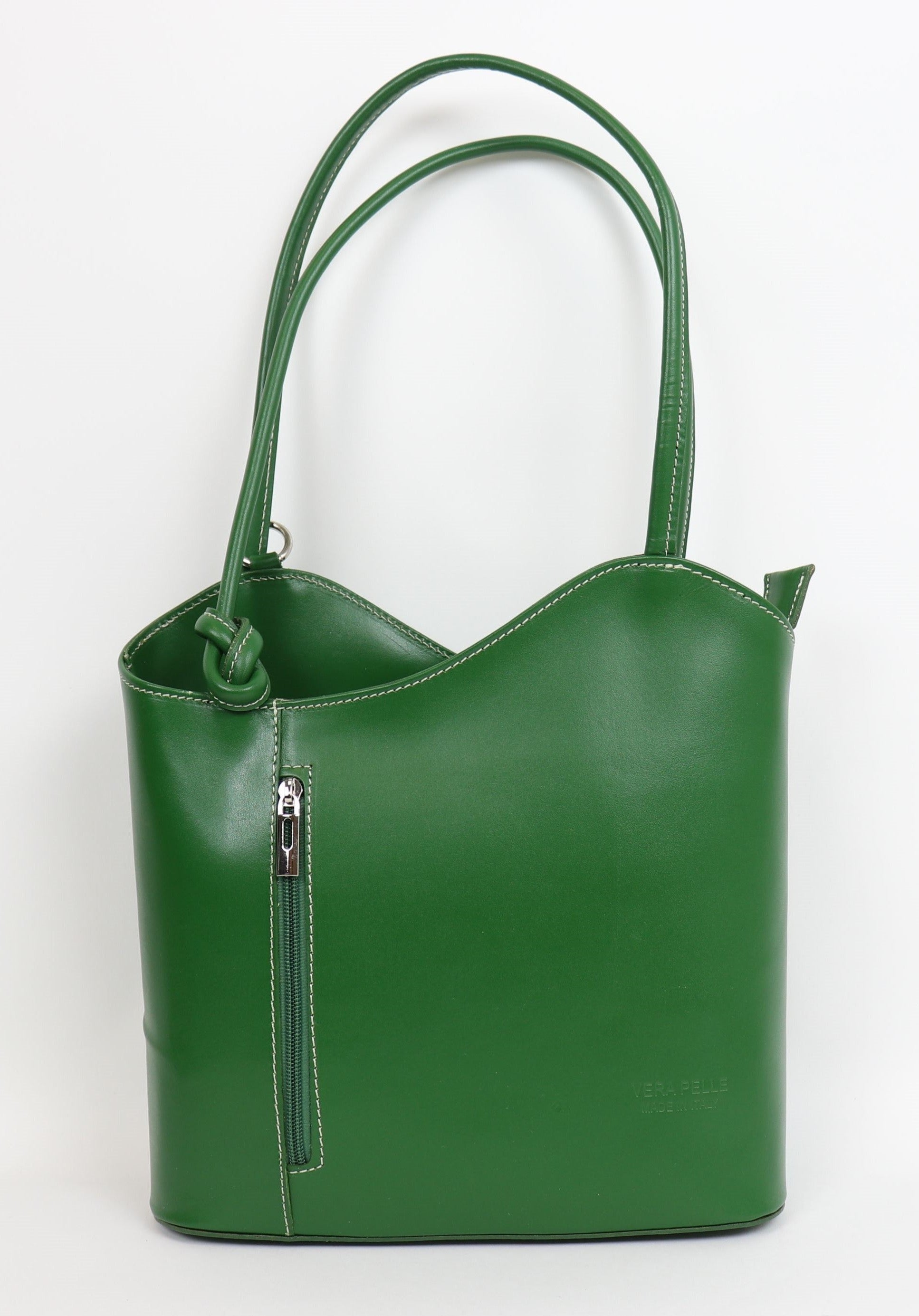 Leather Backpack Handbag - Green