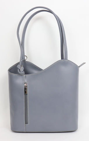 Leather Backpack Handbag - Light Grey
