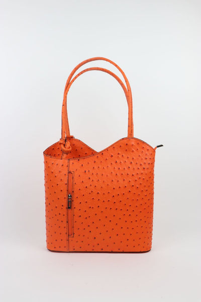 Ostrich Effect Leather Backpack Handbag - Orange