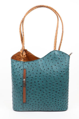 Ostrich Effect Leather Handbag Backpack - Teal/Tan