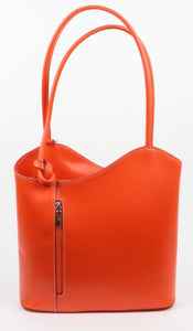 Leather Backpack Handbag - Orange