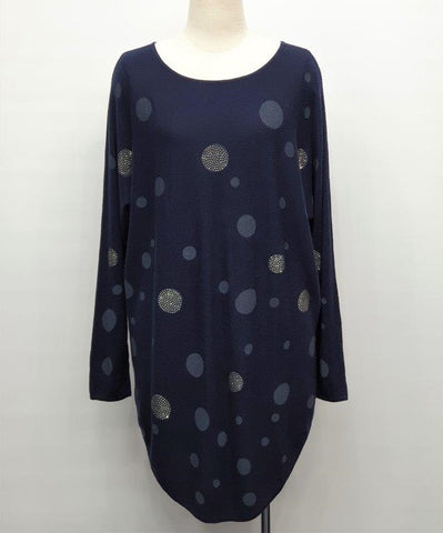 Sparkly Spots Thin Knit Jumper - Navy